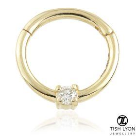 TL - 14ct Gold 2mm Diamond Claw Set Hinge Ring
