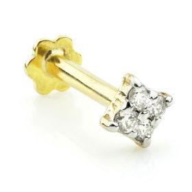 TL - 14ct Gold Diamond Square Internal Labret