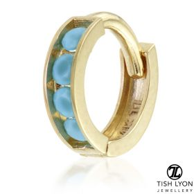 TL - Gold Channel Turquoise Hinge Ring