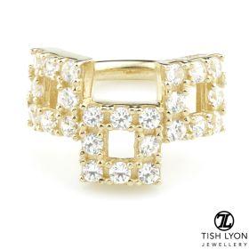 TL - Gold Pavé CZ Triple Square Hinge Ring