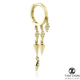 TL - Gold Triple Spiked Chain Hinge Ring