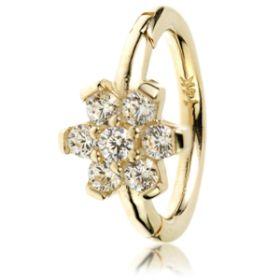 TL - Gold Side Gem Flower Hinge Ring