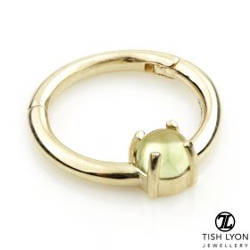 TL - 14ct Gold Peridot Claw Set Hinge Ring