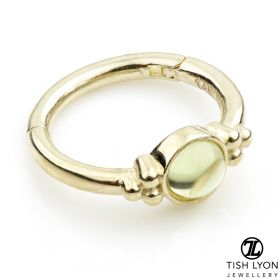 TL - 14ct Gold Peridot Tri-Dot Hinge Ring