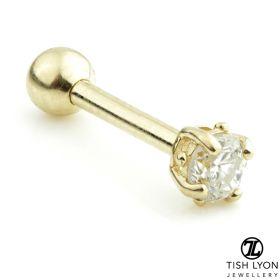 TL - 14ct Gold Diamond Claw Set Microbar