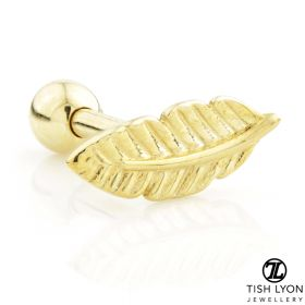TL - 9ct Gold Feather Cartilage Bar- 1mm