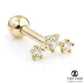 TL - Gold 3 Gem Star Crecent Cartilage Bar