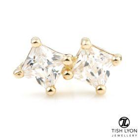 TL - Gold Square Gems Cartilage Bar