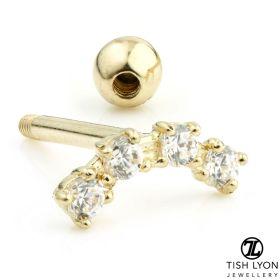 TL - Gold 4 Gem Crecent Cartilage Bar