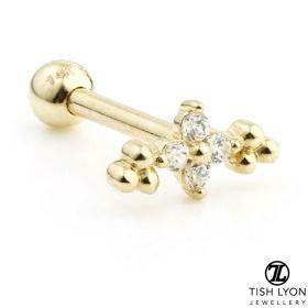 TL - Gold Gem Flower Cartilage Bar