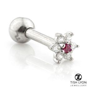 TL - Gold Tiny Flower Gem Cartilage Bar