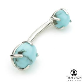 TL - 14ct White Gold Turquoise Claw Set Oval Navel