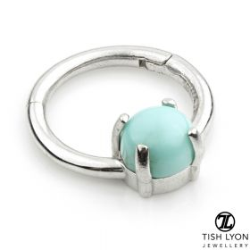TL - 14ct Gold Turquoise Claw Set Hinge Ring