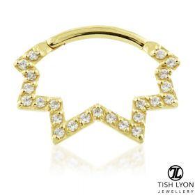 TL - 18ct Gold Pave Zig-Zag Swarovski Daith Ring