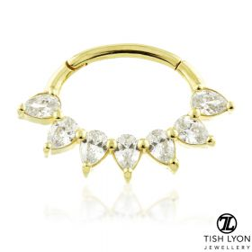 TL - 18ct Gold Multi Pear Swarovski Daith Ring
