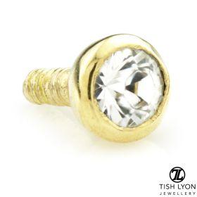 TL - 18ct Yellow Gold Round Gem Internal Thread Attachment