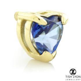 TL - 18ct Yellow Gold Blue Topaz Heart Internal Thread Attachment