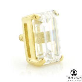 TL - 18ct Yellow Gold Baguette Gem Internal Thread Attachment