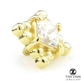 TL - 18ct Yellow Gold Milli Grain Square Gem Internal Thread Attachment
