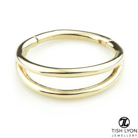 TL - Gold Double Band Hinge Conch Ring