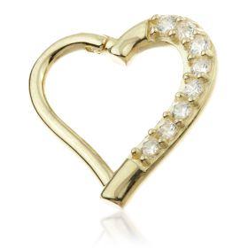 TL - Gold Pavé Gem Hinge Heart Ring