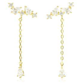 TL - 9ct Pear CZ Climber & Chain Stud Earrings