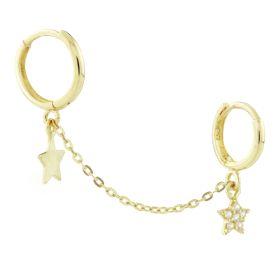 TL - 9ct Pavé Gem Star Plain Star Double Ring