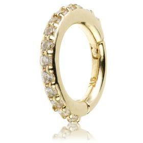 TL - Gold Pavé Gem Eternity Hinge Ring