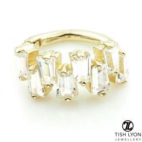 TL - Gold CZ Baguettes Hinge Ring