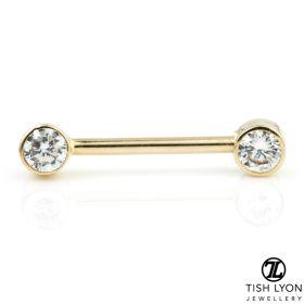 TL - Gold Round Gem Nipple Bar
