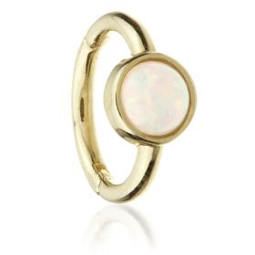 TL - Gold Round Opal Hinge Ring