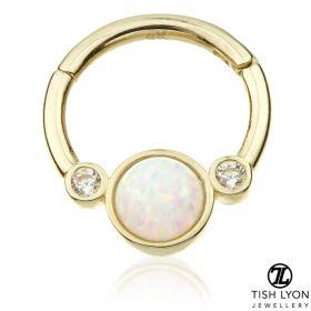 TL - Gold Opal & CZ Hinge Daith Ring