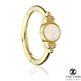 TL - Gold Opal Tri-Dot Hinge Ring