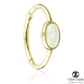 TL - Gold Oval Opal Hinge Ring