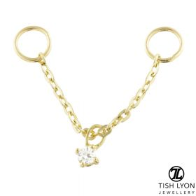 TL - 9ct Gold Hanging Gem Chain Charm for Bars