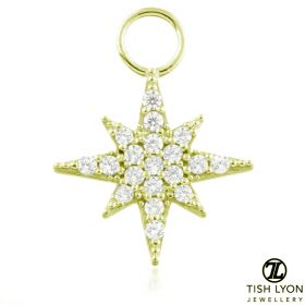 TL - 9ct Gold Jewelled North Star Charm for Hinge Segment Ring