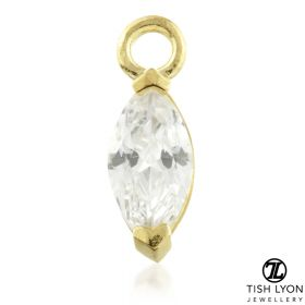 TL - 9ct Gold Jewel Marquese Charm for Hinge Segment Ring