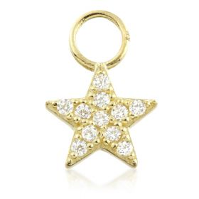 TL - 9ct Gold Jewelled Star Charm for Hinge Segment Ring