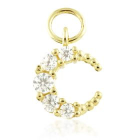 TL - 9ct Gold Small Jewelled Moon Charm for Hinge Rings