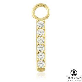 TL - Gold Pave Gem Bar Charm for Hinge Segment Ring