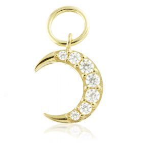TL - 9ct Gold Jewelled Moon Charm for Hinge Rings