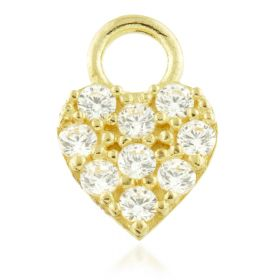 TL - 9ct Gold Jewelled Heart Charm for Hinge Segment Ring