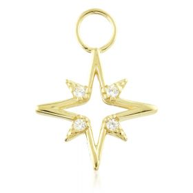TL - 9ct Gold Open North Star Charm for Hinge Segment Ring