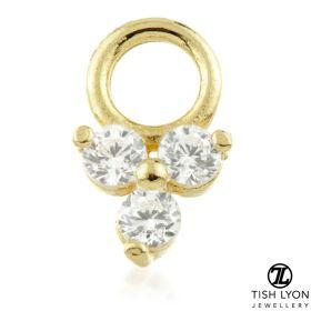 TL - Gold Jewelled Trinity Charm for Hinge Segment Ring