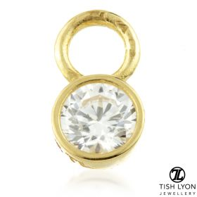 TL - Gold Round CZ Charm for Hinge Segment Ring