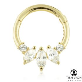 TL - Gold Triple Marquese Hinge Daith Ring
