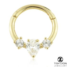 TL - Gold CZ Tear Hinge Daith Ring