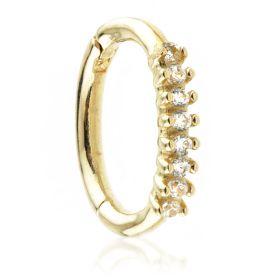 TL - Gold Claw Set CZ Hinge Ring