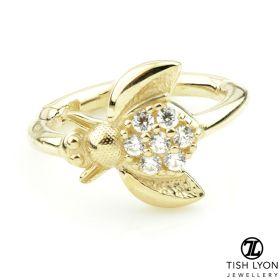 TL - Gold Jewelled Bee Hinge Segment Ring