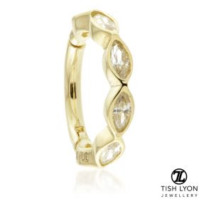 TL - Gold Jewelled Marquise Hinge Ring